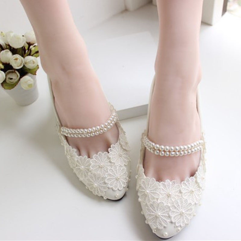 Flat Heel White Silk Floral Wedding Shoes Bridal Beading Footwear