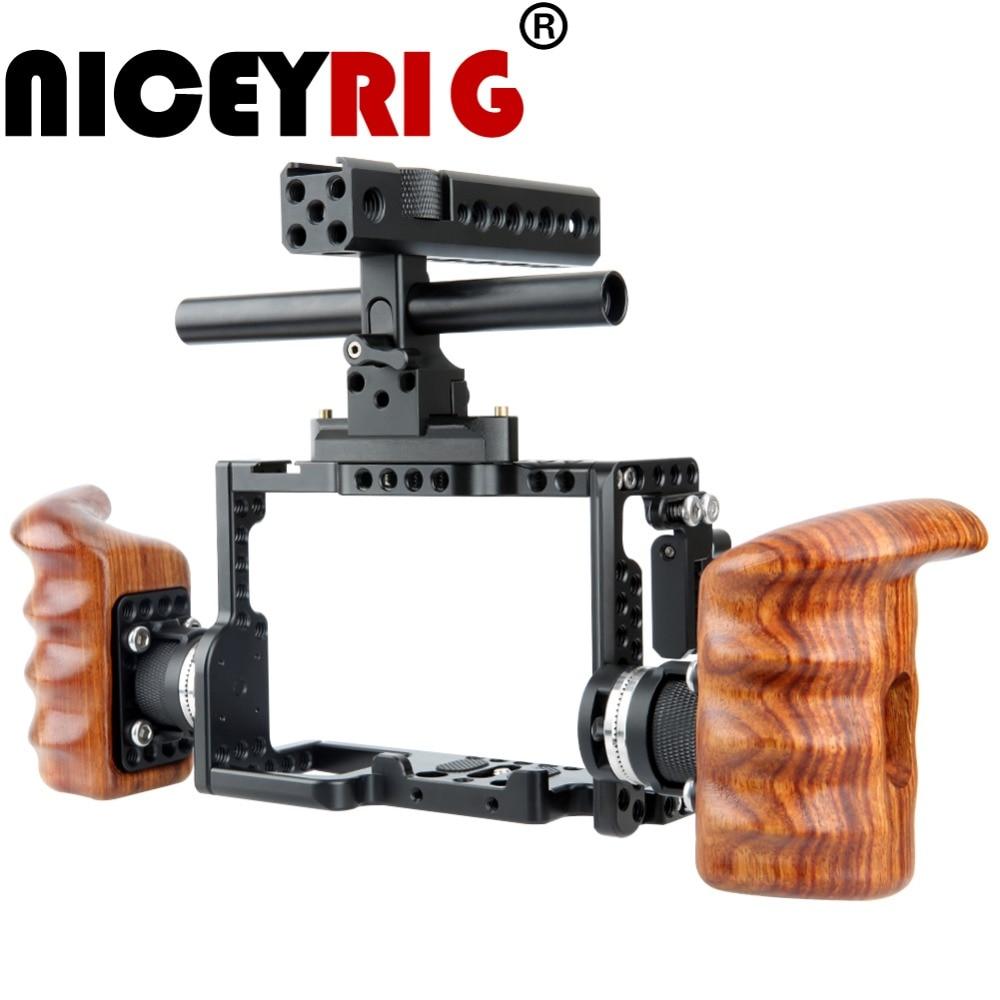 NICEYRIG for Sony A7RIII/ A7MIII/ A7RII/ A7SII/ A7III/ A7II Camera Cage Kit with Wooden Handle Grip HDMI Cable Clamp ARRI Mount meike mk x1em metal bracket hand grip for sony a9 a7miii a7riii a7rii a7ii a7sii camera