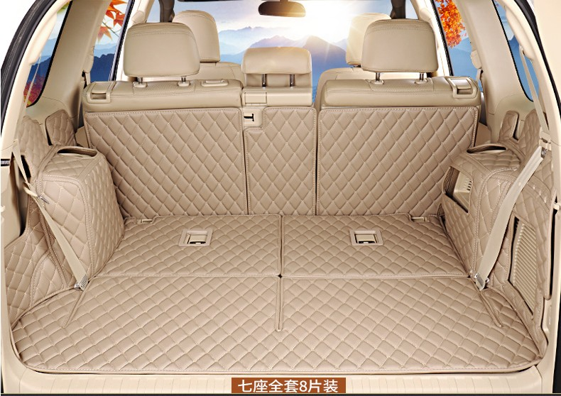 Car Cargo Liner Trunk Mats For Toyota LAND CRUISER PRADO 2010-2017 5 / 7 Seat Surrounded by all Carpets Embroidery Leather Mats black rear trunk cargo cover shade for toyota land cruiser prado fj150 2010 2011 2012 2013 2014 2015