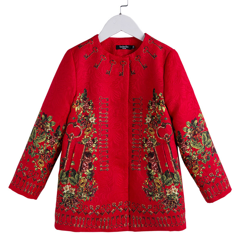 4y 14y Spring autumn Coat Girls Coat 2018 Brand Fille Floral Retro Clothing Children Long Style