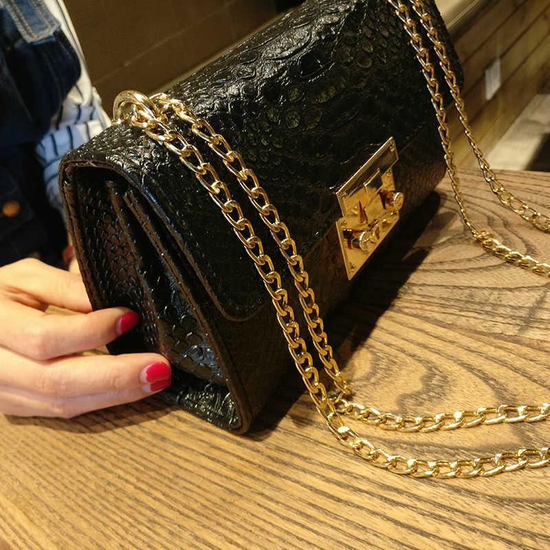 Сумки из крокодиловой кожи, маленькая белая сумка, Высококачественная Черная Женская сумочка, кошельки, Золотая цепочка, женские сумки через плечо, 2019