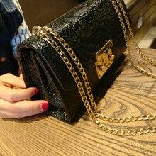 luxury handbags women bags designer black white Crocodile flap bag small clutch gold chain girls crossbody bags for women 2018