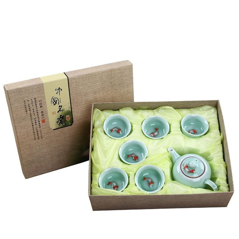 WSHYUFEI Цзиндэчжэнь керамический чайный сервиз 7 шт., подарочный набор с одной рыбкой, фирменные праздничные подарки для семьи и друзей, высокое качество