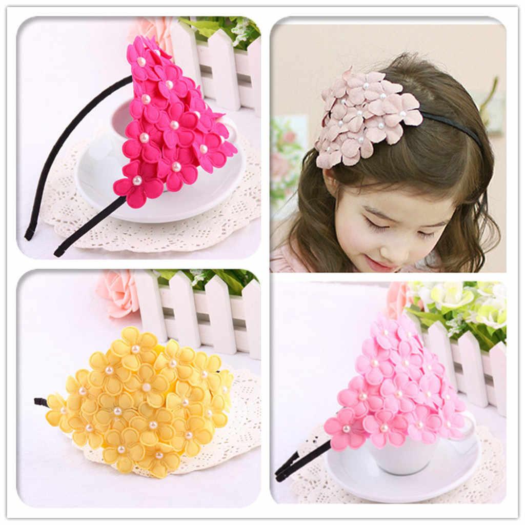 2019 เด็กทารกเด็กหญิงน่ารัก Hairband Boutique กลีบดอกไม้เพิร์ล Headwear เด็ก Turbans Accessoire เด็ก Headdress