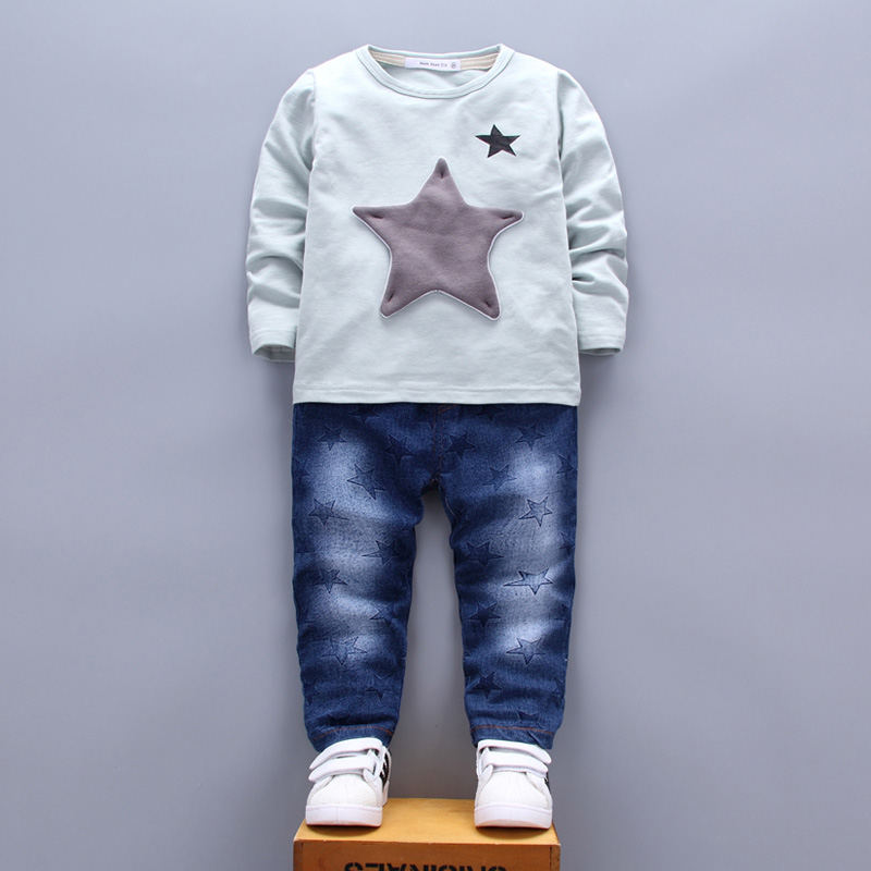 Patchwork Star Kids Clothing Sets for Boys Girls age 1 2 3 4 Years T-shirt Jeans Pants Two Pieces Suits White Blue Green 2017  (15)