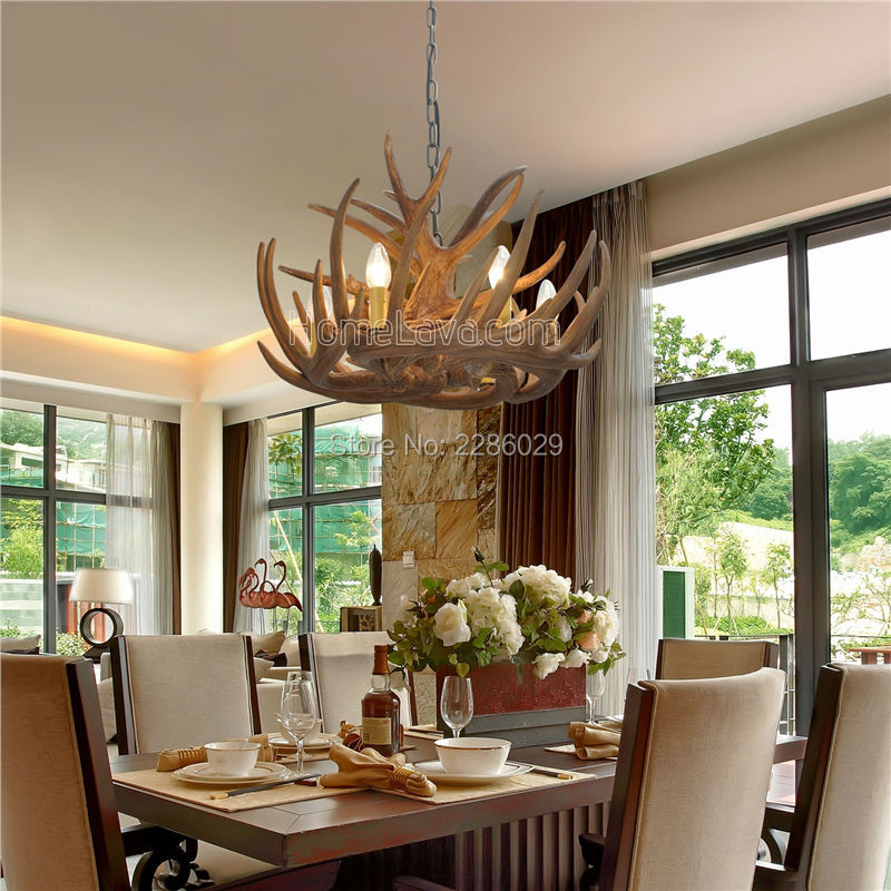 Home Decoration Art Lamp Artistic Rustic Antler Chandelier Lighting Suspension Luminaire Living Room Lights With 6