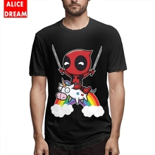 Mens Quality Deadpool T-shirt Cartoon T Shirt 100% Cotton Plus Size 3D Print shirt Casual Round Neck