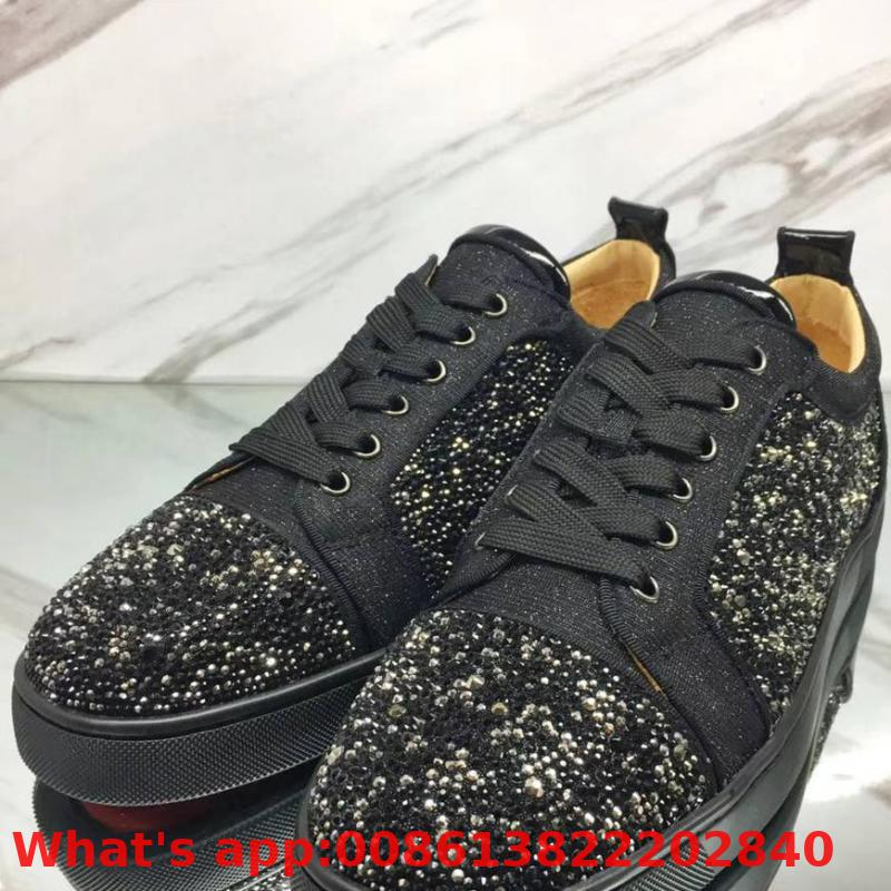 Low-cut Leisure Shoes Lace-up Black With Gray Rhinestone Diamond Red Bottom For Men Shoe Sneakers Leather Flat Loafers(China)