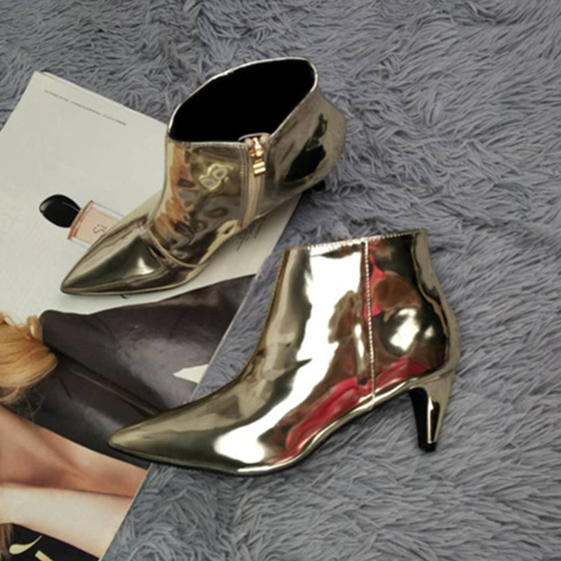 Pointu Femmes Stiletto 2018 Fur sliver Sexy Talons With gold Dame À Verni gold Fur Martin Cuir En Hauts Sliver Cheville Zipper Boucle Bottes Automne Bout 6EESxra
