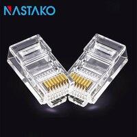 NASTAKO 100 500pcs 8Pin RJ45 Connector CAT5 CAT5e Modular UTP Cable Plugs Network Ethernet RJ45 Crystal