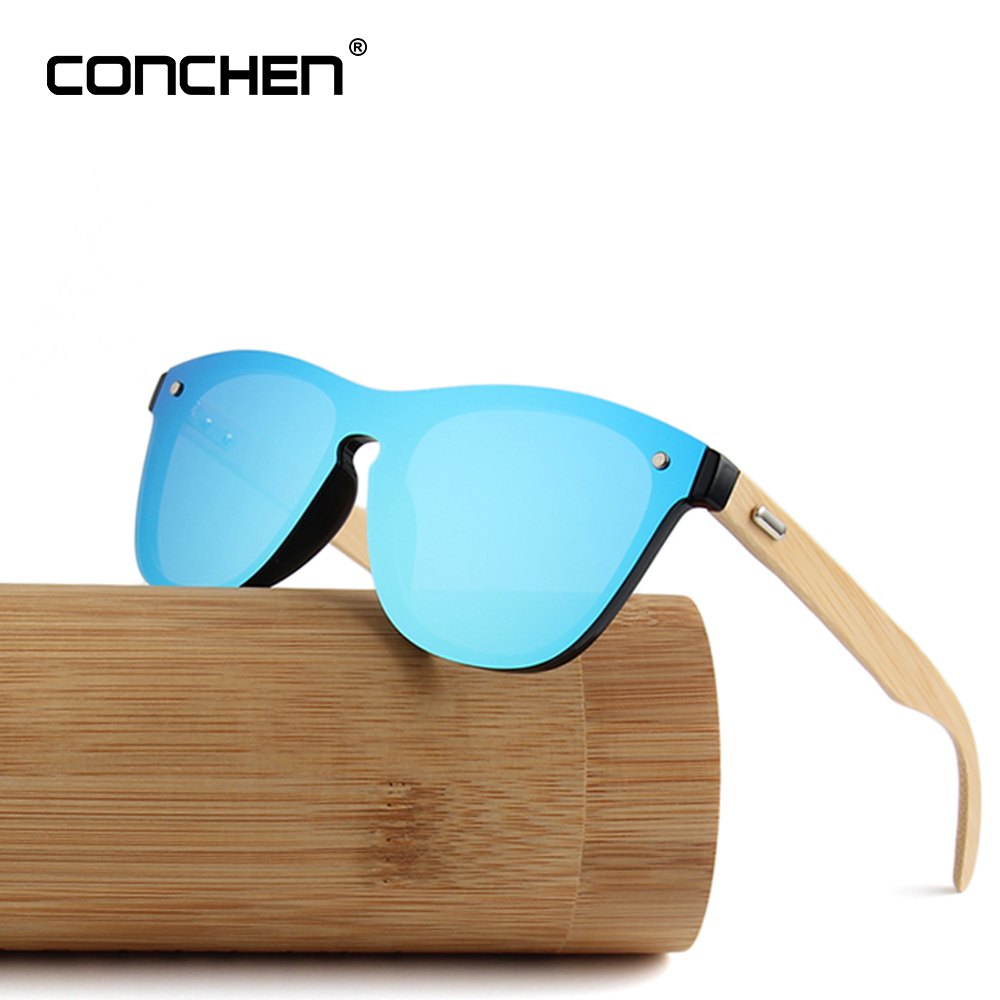 CONCHEN di Legno Occhiali Da Sole Da Uomo di Bambù Occhiali Da Sole di Marca Delle Donne di Sport di Disegno Oro Occhiali Da Sole A Specchio Cilindro Scatola Di Bambù