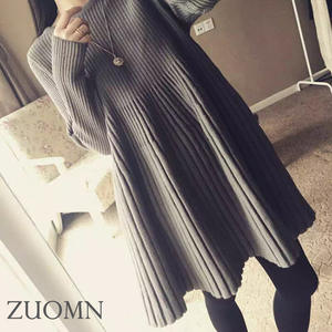 Dresses Colorknitted Long-Sleeve Loose Winter Pregnant-Woman Women Autumn Wool Tops Tunic