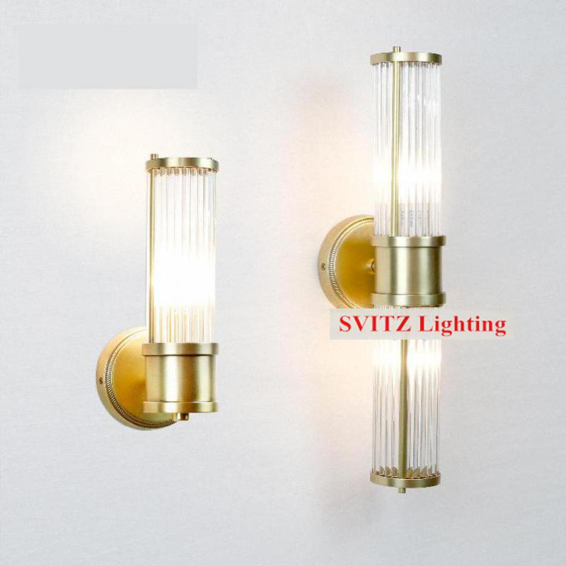 Long full crystal wall light sconce bathroom lamp 1 or 2 for Crystal bathroom wall sconces