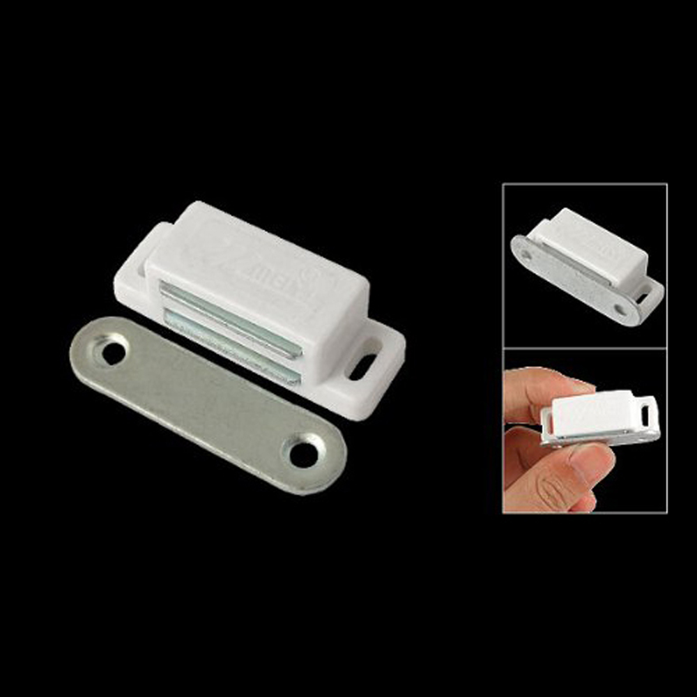 Cabinet Door Hardware White Base 1.8 Long Single Magnetic Catch 5 pack home off white silver tone magnetic catch door stopper
