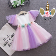 toddler girls Unicorn dress baby girl rainbow colors tulle with unicorn headband lovely kids sundress for party