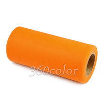 6inch x 25yards Orange Tulle Spool Mesh Organza Roll Ribbon DIY Tutu Wedding Favor Party Gift Bow Craft Decoration 15CM x 22M(China)