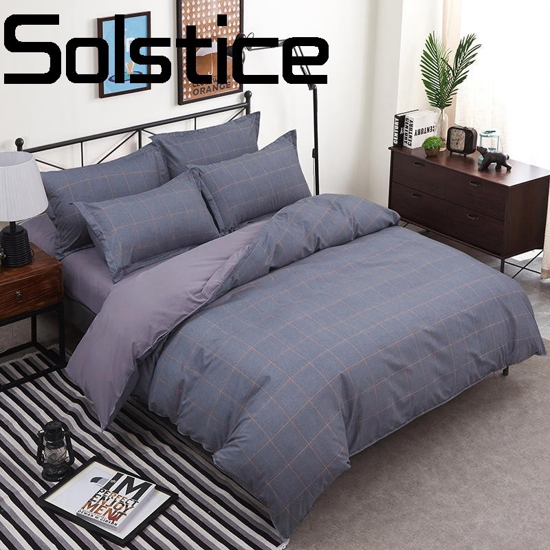 Solstice Home Textile Fashionable Aloe Cotton Comfortable Breathable Printed Bed Sheet Quilt Cover Pillowcase Bedding 3/4pcs