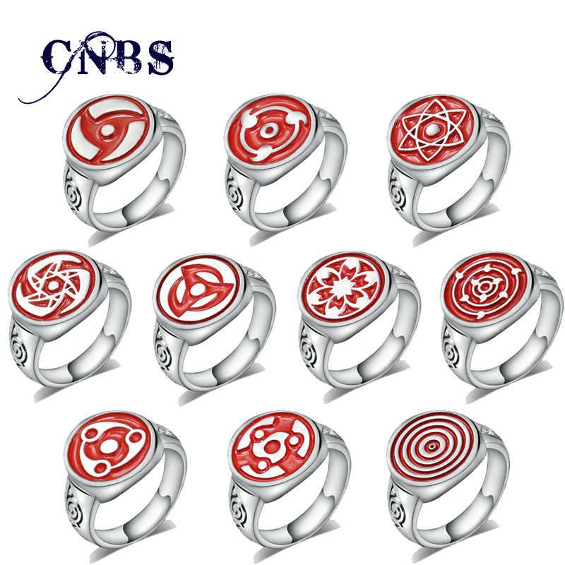 Горячая аниме Шаринган Наруто кольцо серебро Металл Саске Итачи Какаши кольца ювелирные изделия подарок для детей