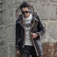 Mens Hooded Sheepskin Shearling Jacket Travel Casual Coat winter Leather jacket Long Style Brown