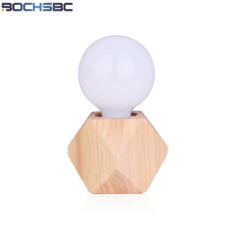 BOCHSBC Mini Solid Wood Table Lamp Nordic Simple Modern Night Light for Bedroom Living Room Desk Lights Lampada da tavolo Lampe