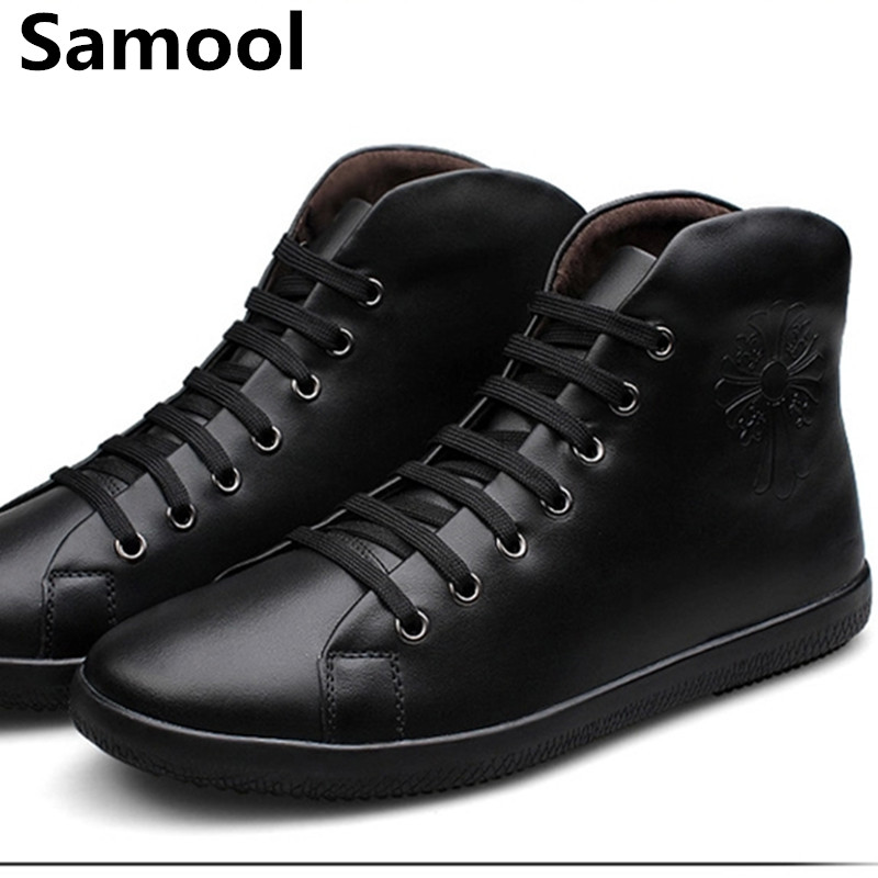 Male winter boots High-Cut Lace-up Warm Men Casual Shoes Fashion high quality big size genuine leather comfortable warm shoeswx5 ...