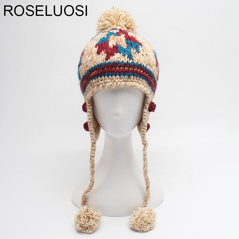 ROSELUOSI 2017 Autumn Winter Hats For Women Knitted Warm Beanies Hat Girls Casual Ear Protect Cap Female Bone Gorras bingyuanhaoxuan2017 warm patchwork hats casual female autumn winter hats handmade coarse knitted hat for women beanies candy cap