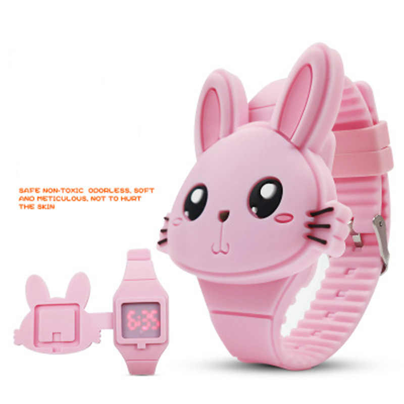 Children's Electronic Watch Animal Cute Rabbit Silicone LED Personality Flip Cover Caton Wrist Watch Electronic Toy