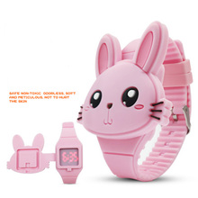 Childrens Electronic Watch Animal Cute Rabbit Silicone LED Personality Flip Cover Caton Wrist Toy