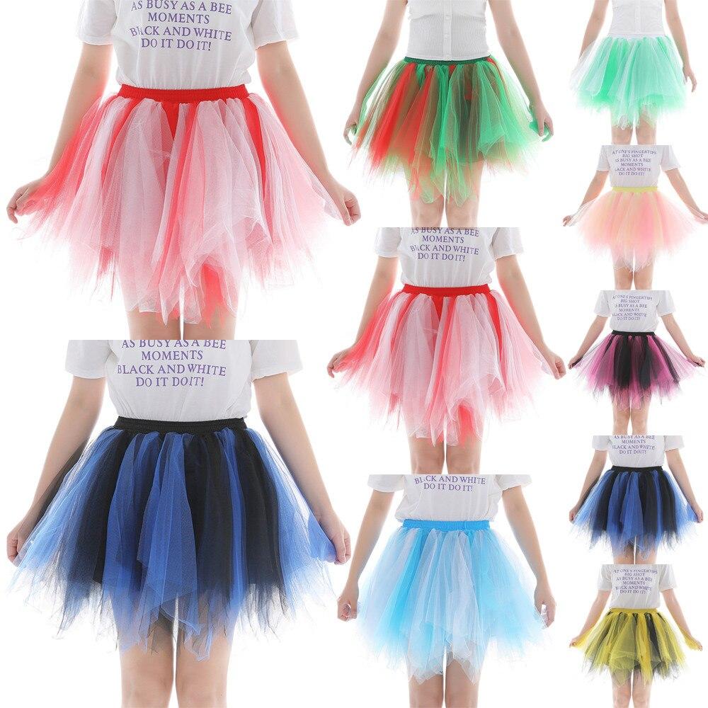 Fashion Multicolor Mesh Skirts Womens High Quality  Pleated Gauze Colours Short Skirt Adult Tutu Dancing Skirt jupe femme #C