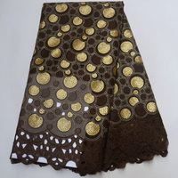 (5yards/pc) high quality African handcut double organza lace fabric in coffee gold with sequins embroidery for party dress OP87