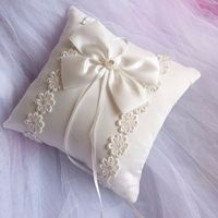 20*20cm Lovely Ivory Bowknot & Faux Pearls Decor Bridal Wedding Ceremony Pocket Ring Pillow Cushion Bearer with Ribbons (Beige)