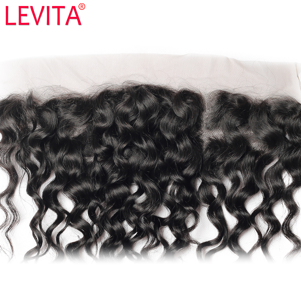 LEVITA Indian Water Wave Frontal Closure 13x4 Transparent Swiss Frontals 1 Piece 100% Remy Human Hair Free Part 10