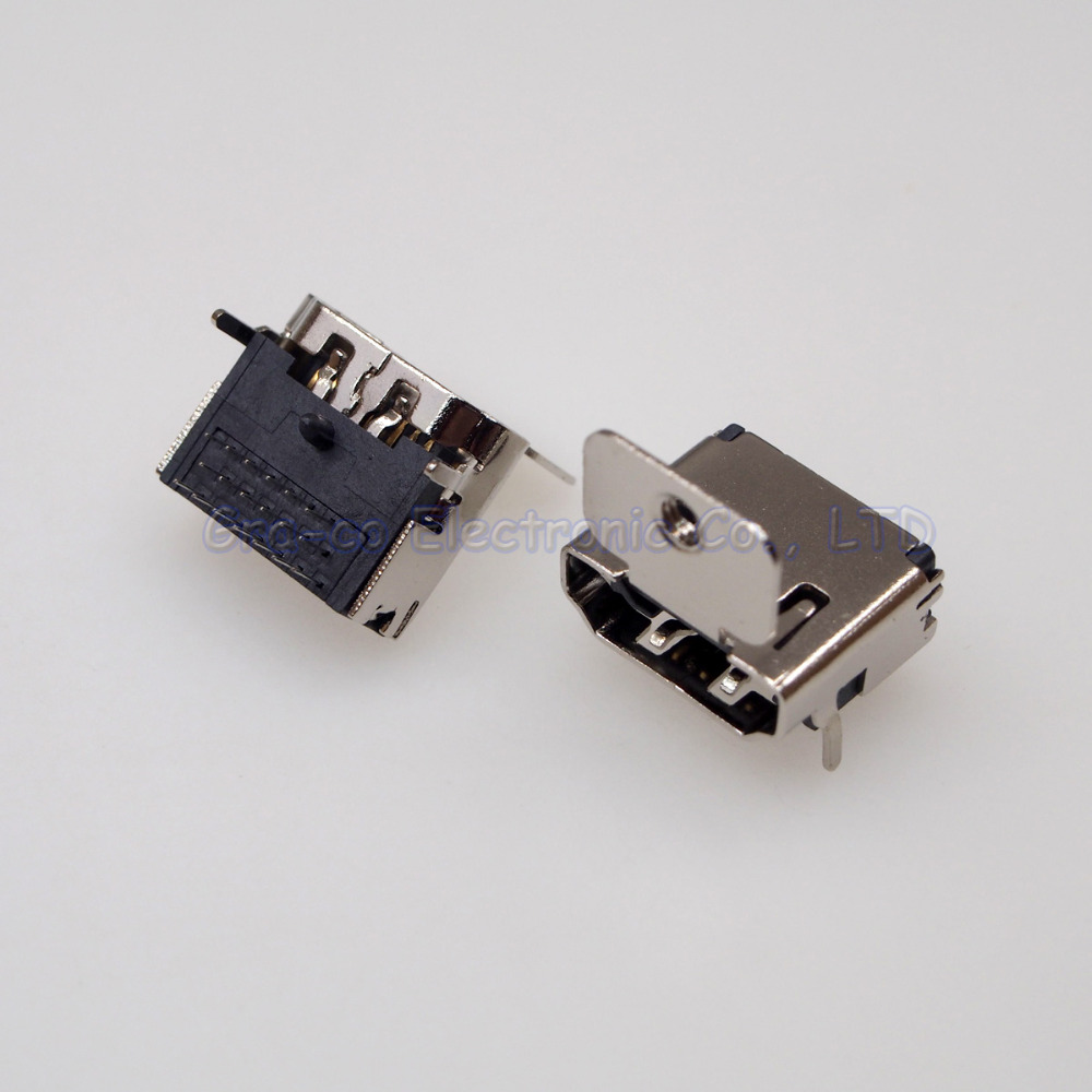 10pcs High quality 19pin HDMI Jack Female Socket 90 degree three rows pin With fixed screw holes
