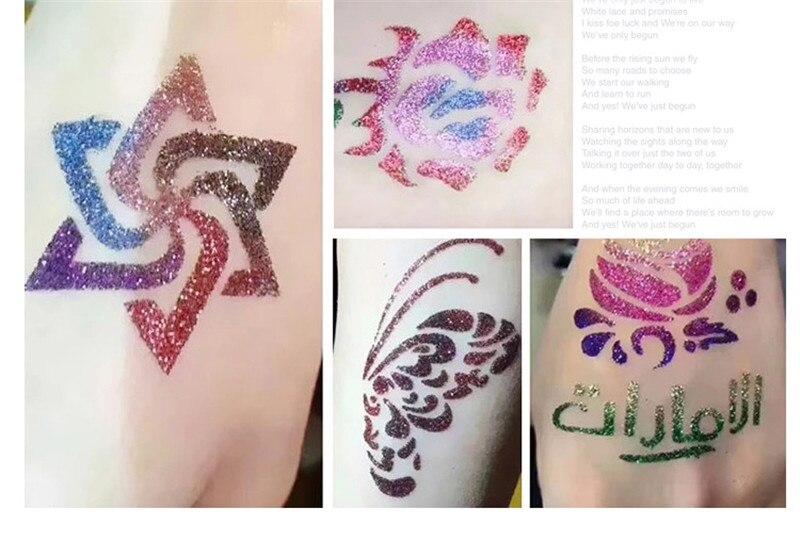 24 Farben Schimmer Glitter Tattoo Kit Tattoo Stencil Set 3 Kleber 2