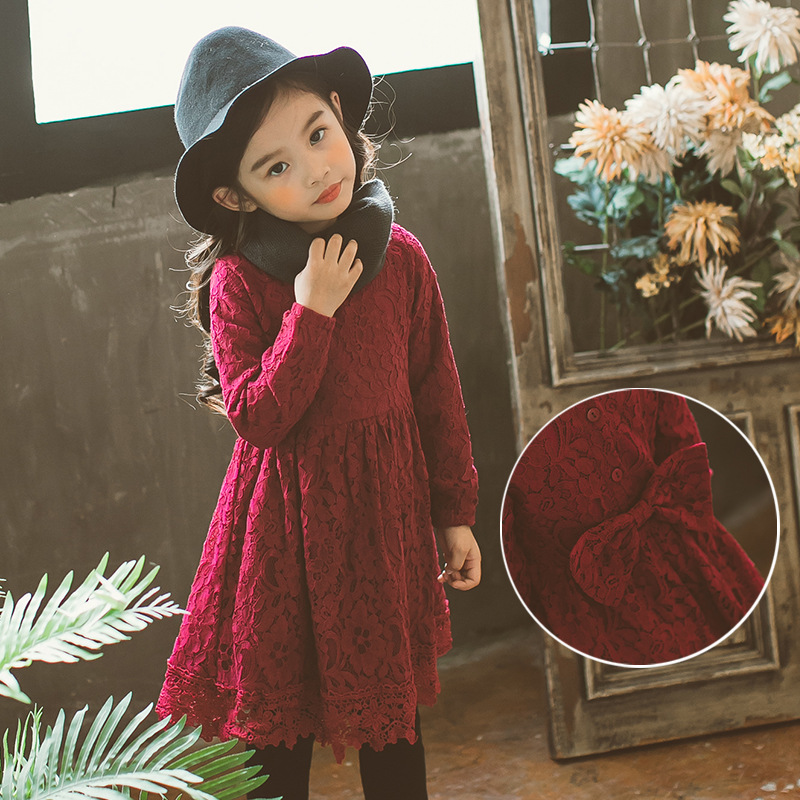 Everweekend Lovely Kids Girls Lace Embroidered Flowers Princess Dress Sweet Children Bow Korean Red Black Color Dress children dress winter korean girls princess gold lace dress cotton kids clothing flowers hollow mesh