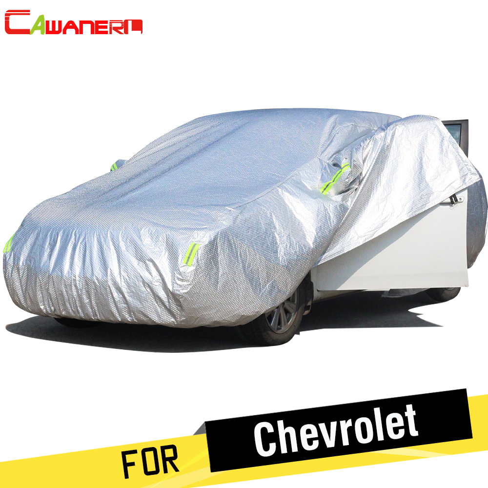 Cawanerl Thicken Car Cover Waterproof Sun Snow Rain Hail Protect Cotton Cover For Chevrolet Camaro Captiva Corsicas Spark Lumina