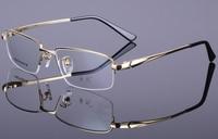 men Vintage Pure Titanium Eyeglass Frame Half Rimless Glasses Spectacles Rx able