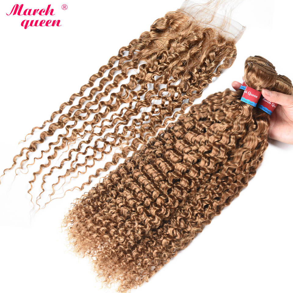 Honey Blonde Color Human Hair Bundles With Closure #27 Burmese Curly Hair 3 Bundles With Lace Closure Non Remy Hair Extensions