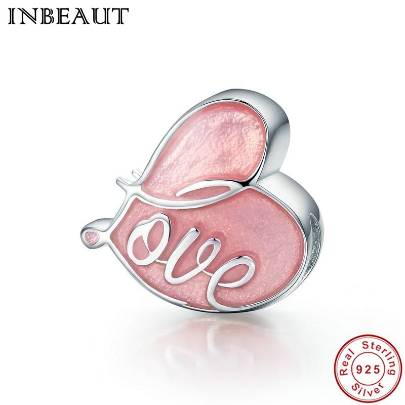 INBEAUT 100% Real 925 Sterling Silver Pink Enamel Heart Love Letter Beads fit Pandora Charm Bracelet for Women DIY Gift Jewelry
