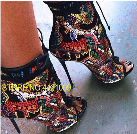 Multicolor Summer Crystal Covered Comic Open toe Lace up High Heel Ankle Boots Peep Toe Cut-outs Summer Sandal Boots PumpsMulticolor Summer Crystal Covered Comic Open toe Lace up High Heel Ankle Boots Peep Toe Cut-outs Summer Sandal Boots Pumps