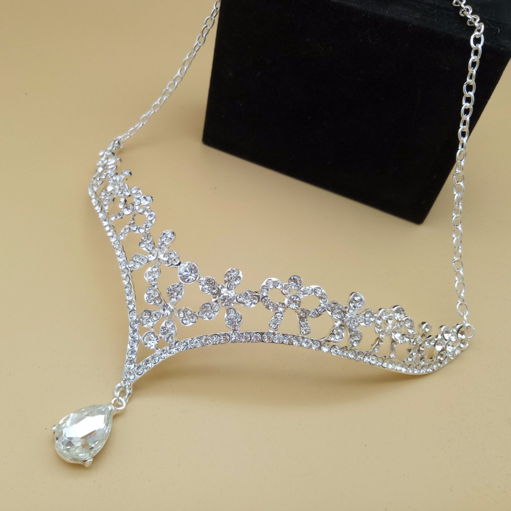 Sparkling Flower Crystal Wedding Bridal Indian Tikka Head Jewelry Tiara Crown Women Hair Ornament Bride Hair Jewelry Accessories