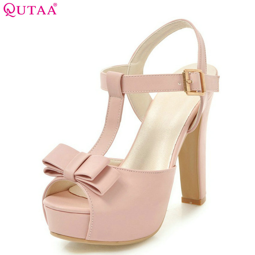 QUTAA 2018 Women Sandals Fashion Platform Pu Leather Women Shoes Buckle Square High Heel Peep Toe Women Sandals Size 34-43 цена