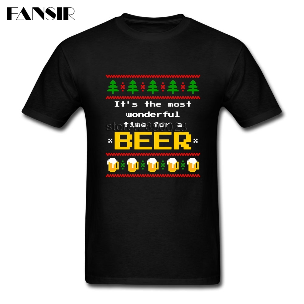 Xs 3xl Ugly Sweater Christmas Beer Geek T Shirts Men Boy Short