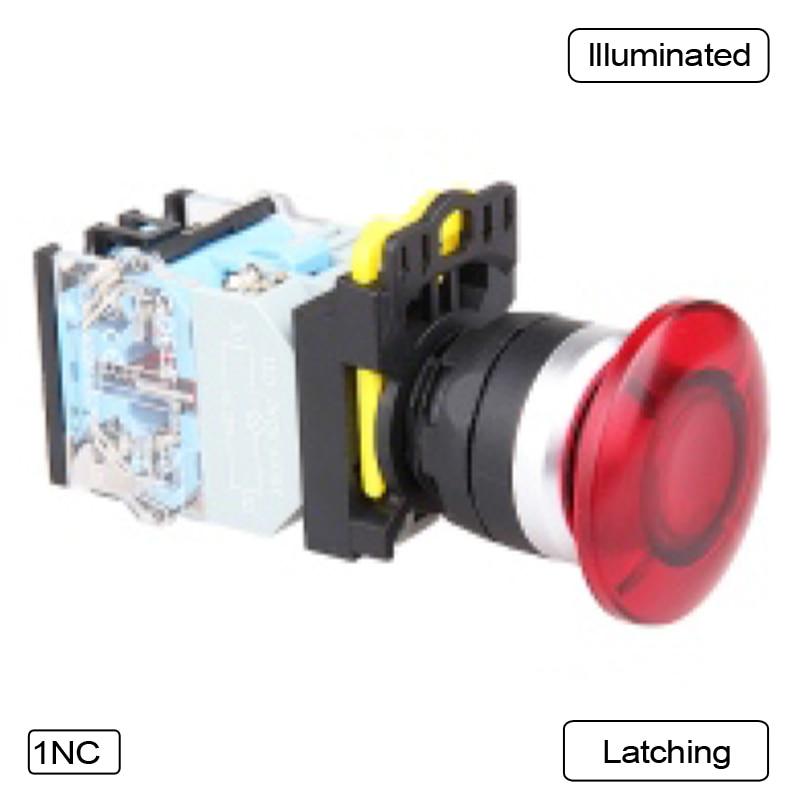 все цены на 5 PCS Push button switch Mushroom button LED Latching OR Momentary Waterproof IP65 LA115-B5-11MD-R онлайн