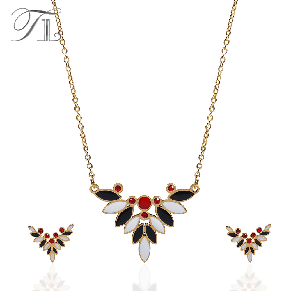 TL White&Black Enamel Jewelry Set For Women Red Crystal Necklace & Earrings Stainless Steel Bridal Jewelry Set African jewellery