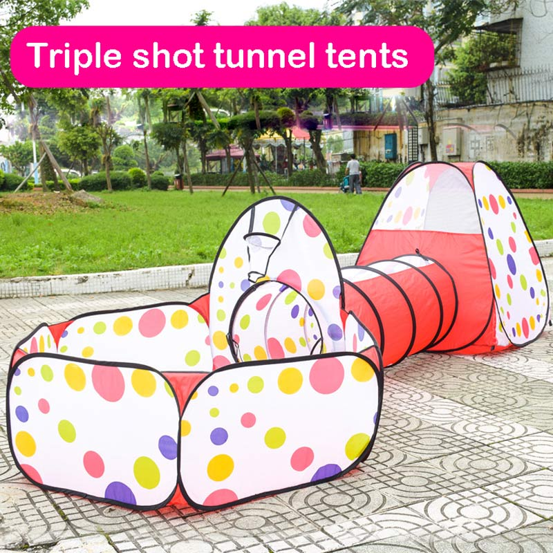 Baby Playpen Tent Tunnel Baby Kids Play House Pool-Tube-Teepee 3pc Pop-up Play Tent Children Tunnel tunnel 3 in 1 portable baby playpen children kids ball pool foldable pop up play tent tunnel play house hut indoor outdoor toys fancing
