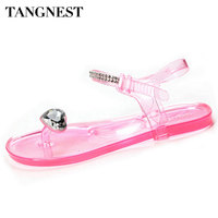 Summer Women Jelly Shoes 2015 New Candy Color Crystal Sandals With Rhinestone For Beach Ladies Fashion