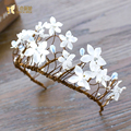 Gorgeous flower hairband women crystal crown wreath beach holiday headpiece bride fascinator tiara hair accessories  sr072