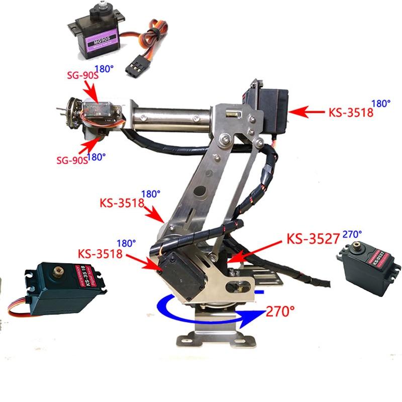 Helt monterad 6 Axis Mechanical Robotic Arm Clamp för Arduino, Raspberry Mor Dhl gratis frakt inom vissa områden