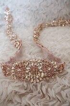 rose gold  rhinestone bridal sash,  wedding sash, exquisite wedding belt, 35 inches length